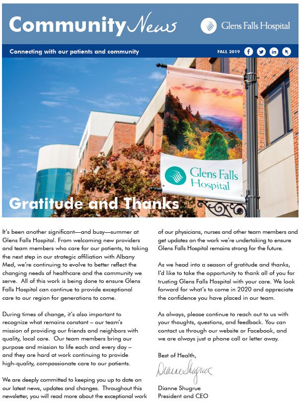 Community Newsletter Fall Edition Front Page