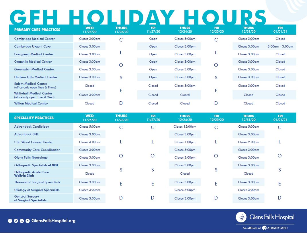 GFH 2020 Holiday Hours of Operation